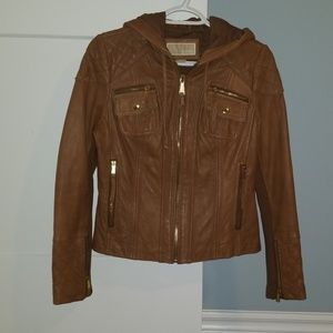 MICHAEL KORS hooded leather jacket